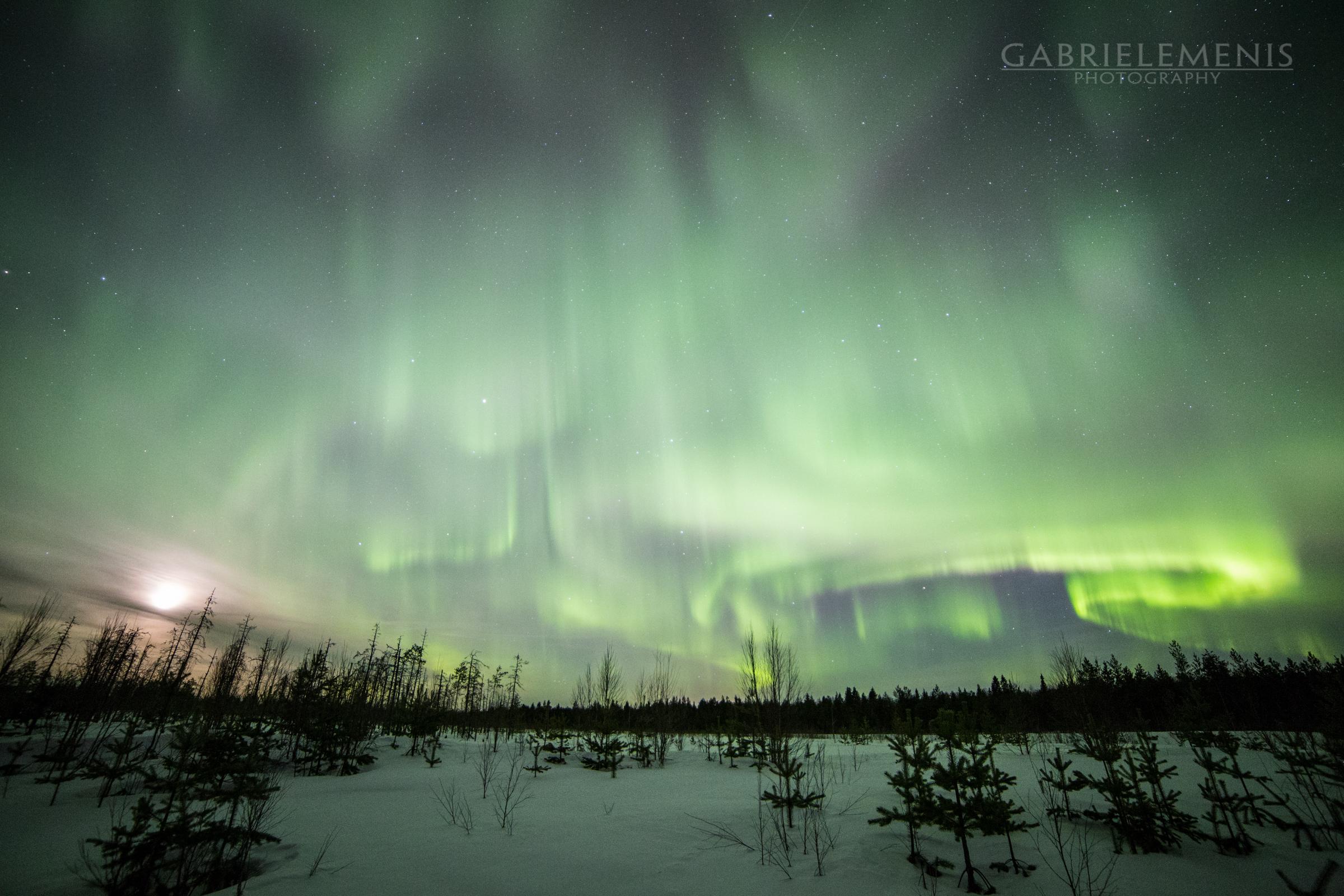 L'aurora boreale può coprire tutto il cielo e riflettersi sulla neve
